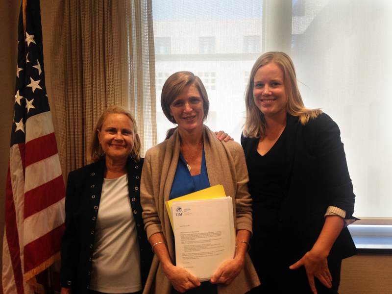 IJM delivers signed petitions to U.S. Ambassador to the United Nations, Samantha Power