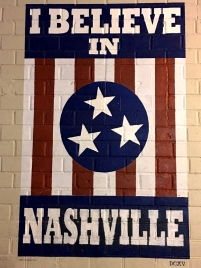 """I believe in Nashville"" sign."